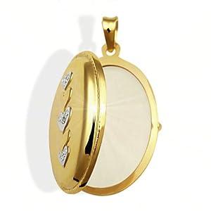 Goldmaid Damen-Medallion 333 Gelbgold 1 Diamant 0,005 Karat Herzen Weißgold
