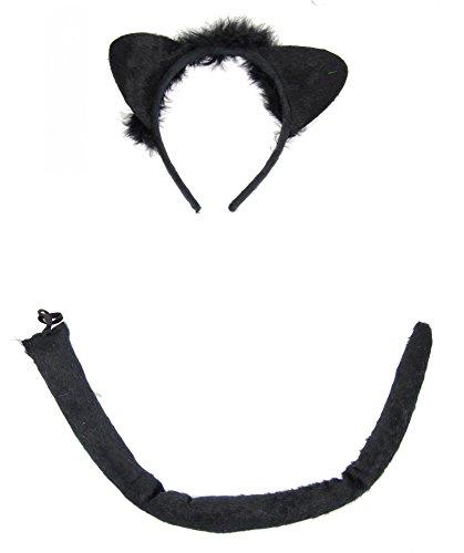 Foxxeo Schwarze Katzen Kostüm Set für Damen und Kinder - Katzenschwanz und Katzenohren - Mädchen Katze schwarz Katzenschwanz Ohren Katzenkostüm Tierkostüm