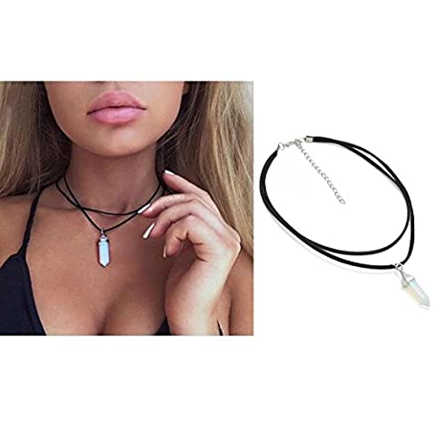 Collier ras du cou double couche en cuir velours noir. Collier pendentif avec gemme naturelle de cristal de roche à quartz. Bijoux pour femmes filles par Tpocean