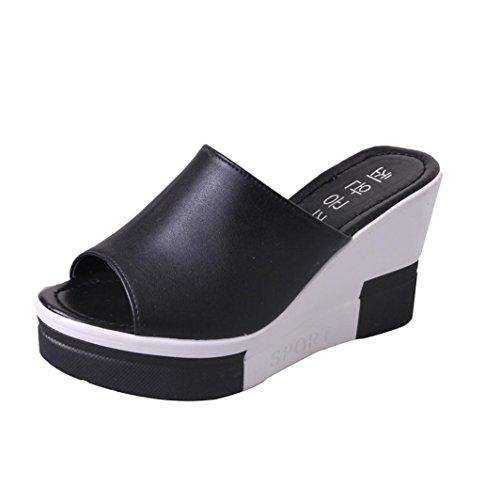Uomogo® scarpe donna eleganti, scarpe e pantofole sandalo argento,donna estate pantofola zeppa suola spessa scarpe tacco (cn:40, nero)