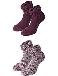 Tobeni deux paires de chaussettes pour les femmes Homesocks avec enveloppe de laine de haute qualité