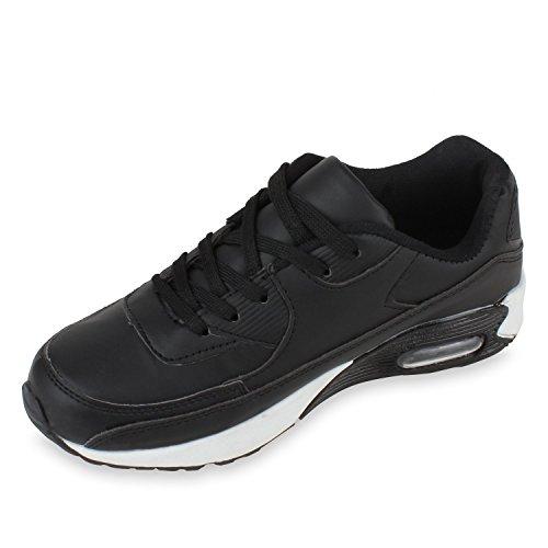 Trendige Unisex Damen Herren Kinder Laufschuhe Schnür Sneaker Sport Fitness Turnschuhe Schwarz-Weiß