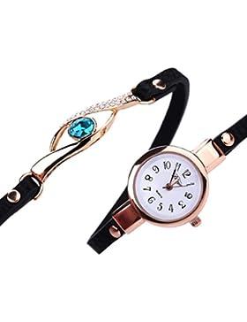 Sunnywill Neue Mode Diamant Wrap Around Leatheroid Quarz-Armbanduhr für Mädchen
