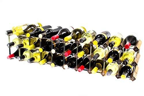 Klassische 20/30 FlaschenschrankPlatte Nussbaum gebeiztem Holz und verzinktem Metall Weinregal fertig montiert -