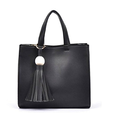 Damen Weiche Ledertasche Handtasche Umhängetasche Mit Verstellbarem Schultergurt Black