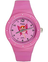 Vizion Analog Hot-Pink Medium Dial (Riha-The Butterfly Princess) Cartoon Character Watch for Kids-8825-2-1