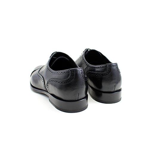 GIORGIO REA Chaussures Homme Noir Fait à la Main en Italie, Single Boucle, Brogues, Mocassins, Boucles, Élégant, Haute Couture Noir