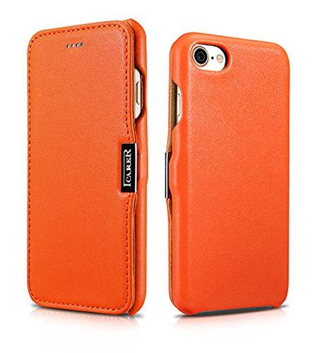 Luxus Tasche für Apple iPhone 8 und iPhone 7 (4.7 Zoll) / Case mit Echt-Leder Außenseite / Schutz-Hülle seitlich aufklappbar / ultra-slim Cover / Etui / Orange