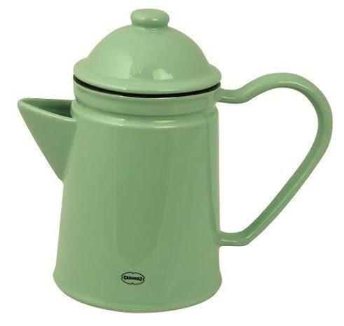 Kaffeekanne Kaffeekrug Teekanne Kanne Keramik Emaille- Look Vintage Green grün