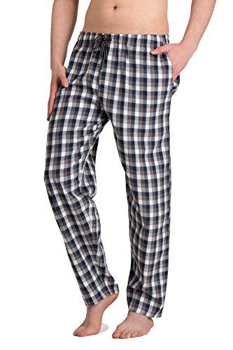 Moonline - Herren Webhose Freizeithose Loungewear aus 100% Baumwolle, Farbe:anthrazit/blau/weiß, Größe:46/48 -
