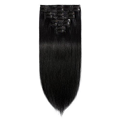 100% Remy-Echthaar Clip-In-Extensions für komplette Haarverlängerung 110g-55cm (#1 Schwarz)