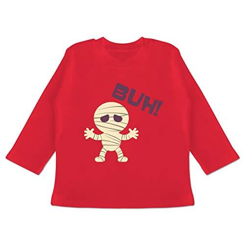 Anlässe Baby - Mumie Buh süß - 18-24 Monate - Rot - BZ11 - Baby T-Shirt Langarm