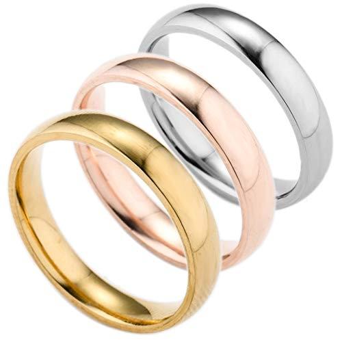 BQZB Ring 3 Teile/Satz Edelstahl Fingerring Für Männer Rose Gold Ringe Für Frauen Silber Überzogene Ring Frauen Hochzeit Schmuck Paar Ringe Geschenke