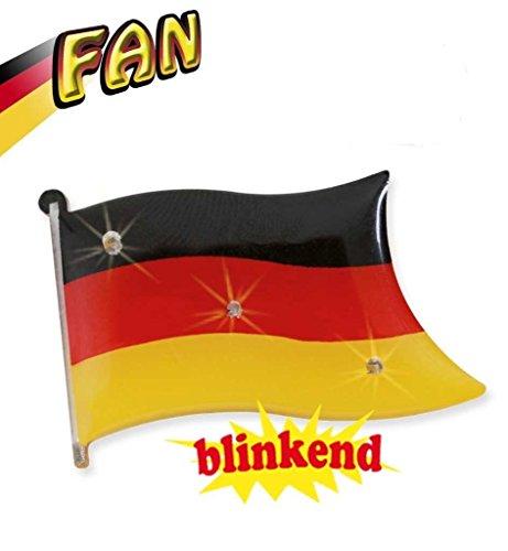Blinkie FAN, Anstecker, blinkend, Deutschland, Fußball, WM, EM, Flagge (Fußball Spieler Kostüm Frauen)