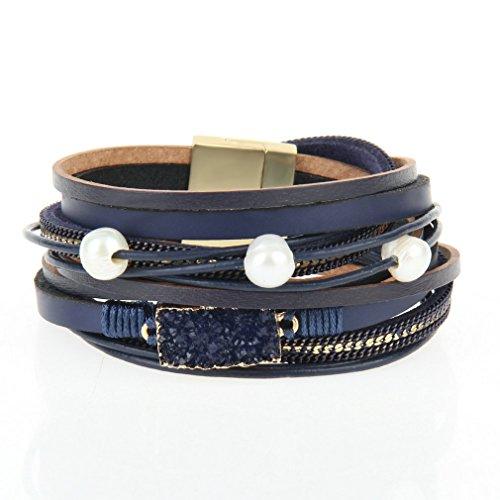 JOYMIAO Frauen Lederarmband aus echtem Leder Armband mit vulkanischen Stein Perlen Wrap Armband handgemachte geflochtene Schmuck für besten Freund Geschenke (Blau) -