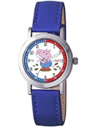 Peppa Pig Boy's Quartz Watch with White Dial Analogue Display and Blue PU Strap PP008