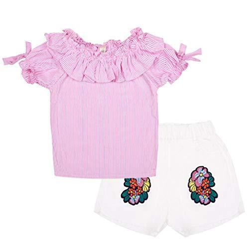 en Klassisch Gestreiftes T-Shirt Mit RüSchen + Kurzhose Mit Blumen Stickerei Urlaub Kleidung Eingestellt(Rosa,12-24 Monate) ()