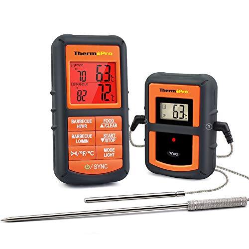 Amazon Marke: Umi. Essentials Grillthermometer Funk Bratenthermometer Digital Fleischthermometer Ofenthermometer mit 2 Sonden für Küche Kochen Fleisch Smoker Grill Lebensmittel BBQ Thermometer