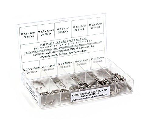 Sortimentskasten mit 200 Stück kleinen Zylinderschrauben nach DIN 84 aus Edelstahl A2 (M1,6, M2, M2,5, M3 und M4), Schlitz, Zylinderkopf. Minischrauben Sortiment inkl. beschrifteter Box