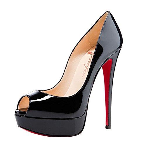 SHOFOO - Femmes - Stiletto - Cuir brillant synthetique - Semelle compensee - Talon aiguille - Bout pointu ouvert, Noir/Rouge, 40 EU