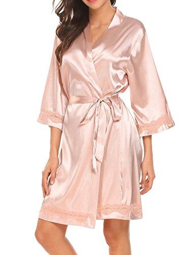 Unibelle Damen Satin Morgenmäntel Robe Kurzer Kimono Silk Bademäntel Nachtwäsche Negligee (Kurzen Satin-kimono-robe)