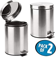 Mofna Stainless Steel Plain Pedal Dustbin Set of 2, Garbage Bin with Removable Bucket Round Shape 7''x