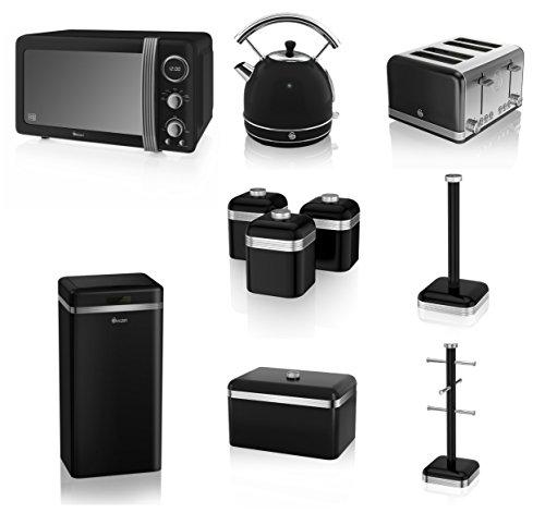 Swan Black Kitchen Appliance Retro Set Of 10 - Retro Digital Microwave, 20 Litre, 800 Watt, 1.7 Litre Dome Kettle & Retro Stylish 4 Slice Toaster Retro Breadbin, 3 Canisters, Towel Pole, 6 Mug Tree And Sensor Rubbish Bin Set