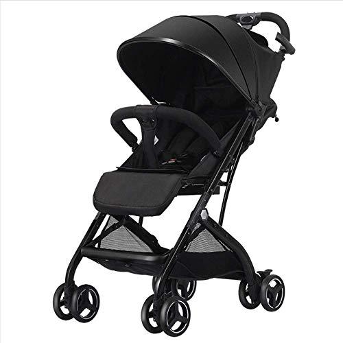 ZLMI Kinderwagen Kinderwagen, Leichtes Reisesystem Einhandklappbarer Kombi Kinder 0-3 Jahre alt,Black