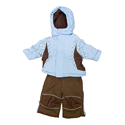 baby-snow-suit-6-12-months-ski-jacket-salopettes-pants-weather-resistant-light-blue-brown