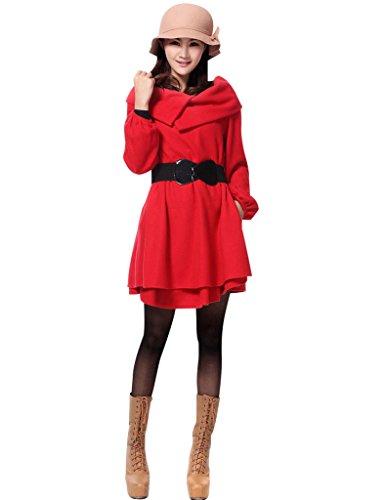 Youlee Damen Großer Saum Wollmäntel Schwangerschaftsmode Style 2 Rot Velvet