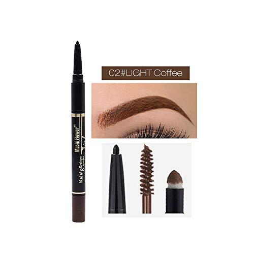 Yogogo Health and Beauty 2019,Crayon-crème pour les yeux, 2 en 1, peinture brune imperméable, ensemble de sourcils au henné
