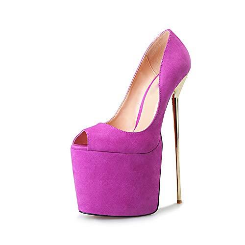 WHL.LL Damen Fischmaul Offener Zeh Hoher Absatz Einzelne Schuhe Wasserdichte Plattform Metall Hacke Hoher Absatz Einzelne Schuhe Stage Catwalk Schuhe (Absatzhöhe: 22 cm),Purple,49 (091 Violett)
