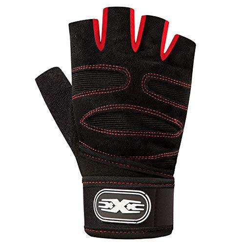 Qir-gloves guanti attrezzature da alpinismo fitness per uomini e donne esercizio mezzo dito antiscivolo resistente all'usura lungo polso anti-cranio femminile, xl, rosso