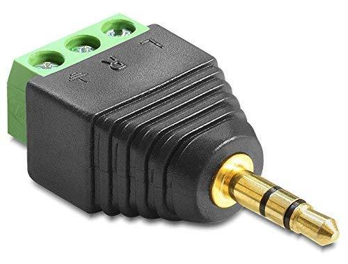 2x Delock Adapter Audio Klinke Stecker 3,5 mm > Terminalblock 3 Pin Pin Audio Stecker