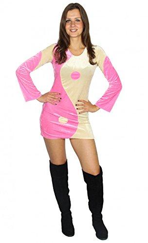 Foxxeo sexy 80er Jahre Disco Kleid für Damen Popstar Groovy Disco Disko Kostüm Yin Yang 70er Karneval Fasching Party Größe - Sexy Disco Kostüm