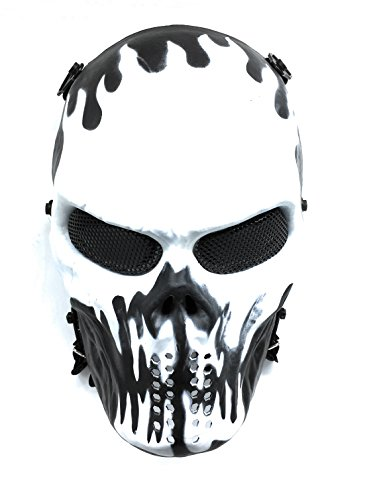 CS Schutzmaske Halloween Airsoft Paintball Full Face Skull Skeleton Maske (Schwarz/Weiß) (Schwarze Und Weiße Maske)