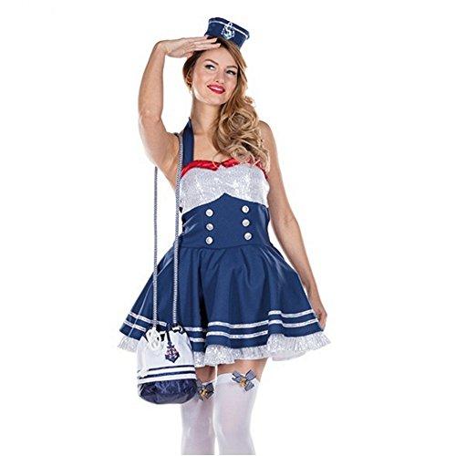 Kostüm Glamour Matrosin Kleid Haarreif Seefahrerin Navy Marine Karneval (42)