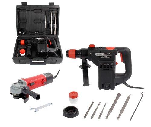 Matrix EHD 1150/AG 500-115 Bohrhammerset im Koffer mit Winkelschleifer