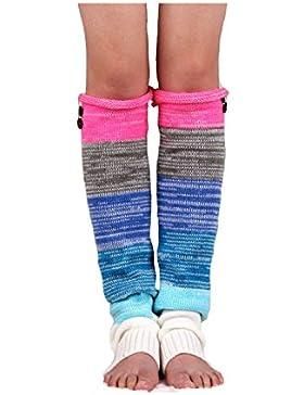 Calentador de la pierna de mujer raya hacer punto calcetines de arranque