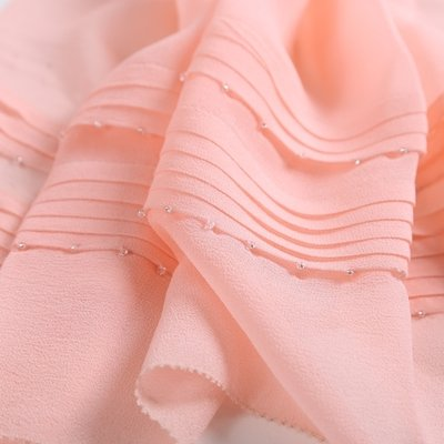 Upper-All-match color long silk scarf silk scarf winter women hand beaded scarf gift box,Pink