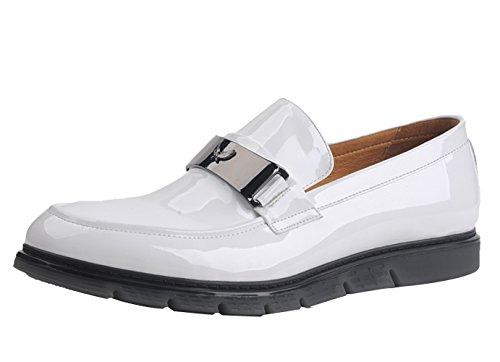 Insun Herren Lackleder Boot Halbschuhe Schuhe Weiß