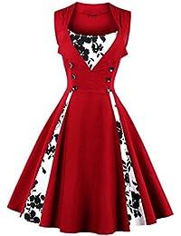 VERNASSA Abito Retrò, Donne Chic Stile Vintage 1950 Vestito da Cocktail Rockabilly Swing Abito Classico Anni'50, Multicolore, Taglia S-4XL