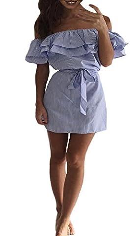 Women's Summer Casual Off Shoulder Striped Ruffles Strapless Short Dress Bandeau Mini Dress