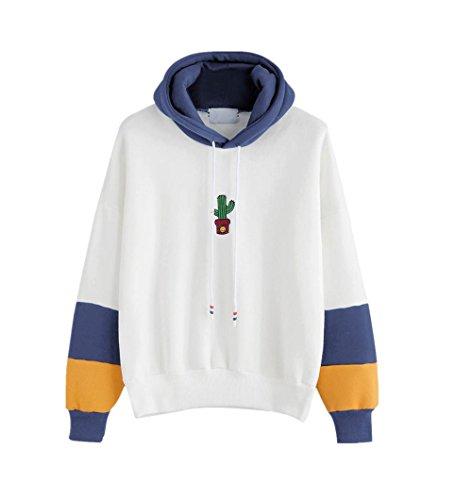Frauen Kapuzen-Sweatshirt Mantel Kaktus Lächeln Gesicht Muster Appliques Pullover Top Casual Shirt Retro Bluse-bbsmile (L, Blau)