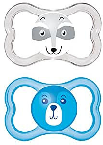 MAM Air Latex 216411 Dummies 6-16 Months Pack of 2 for Boys Assorted Colours