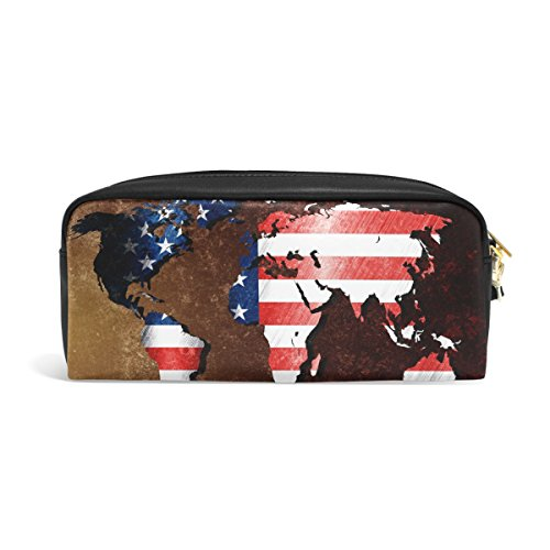 zzkko Vintage Weltkarte American Flag Leder Reißverschluss Federmäppchen Pen Stationäre Bag Kosmetik Make-up Bag Tasche Geldbörse (Weltkarte Stationären)
