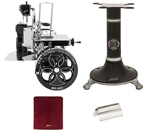Berkel - Schwungrad B114 - Schwarz mit Silbernen Verzierungen - Geblühtes Schwungrad + Roter Slicer Deckel + Schinkenzange + Sockel