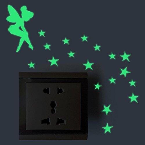 FNKDOR Leuchtaufkleber für Switch, Lichtschalter oder die Wand Wandtattoo fluoreszierende leuchtende Sticker, Bären und Elefanten (Feen und Stern)