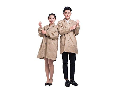 JwlqAy Perfekt Verschleißfeste Warehouse Coat Schürze mit Knopf Adult Working für Männer und Frauen (Beige, Größe: XL)