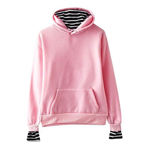 AQIN Damen Einfarbig Beiläufig Gestreift Nähen Fälschung Zwei Stück mit Kapuze Plus Samt Sweatshirt Größe XXS-XXL